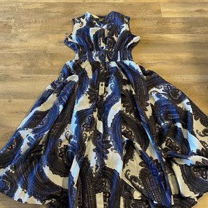 CHELSEA and THEODORE Blue Paisley Dress Sz M NWOT